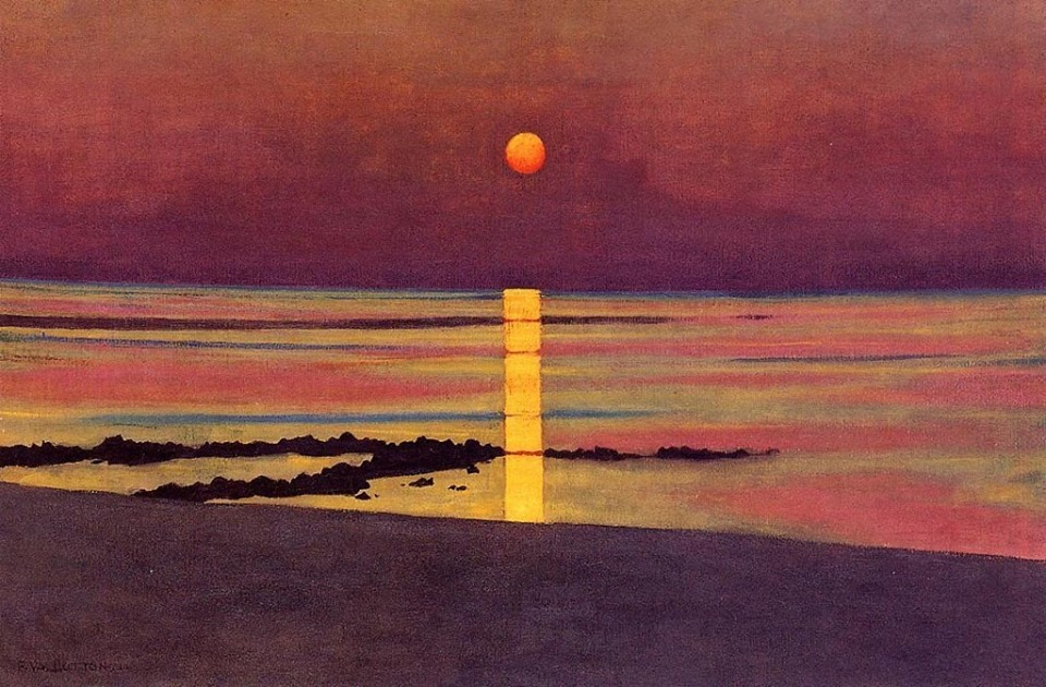 Félix Edouard Vallotton (Swiss, Magic Realism, 1865–1925)- Sunset, Bronze-Purple; 1911. Oil on canvas. Private Collection.
