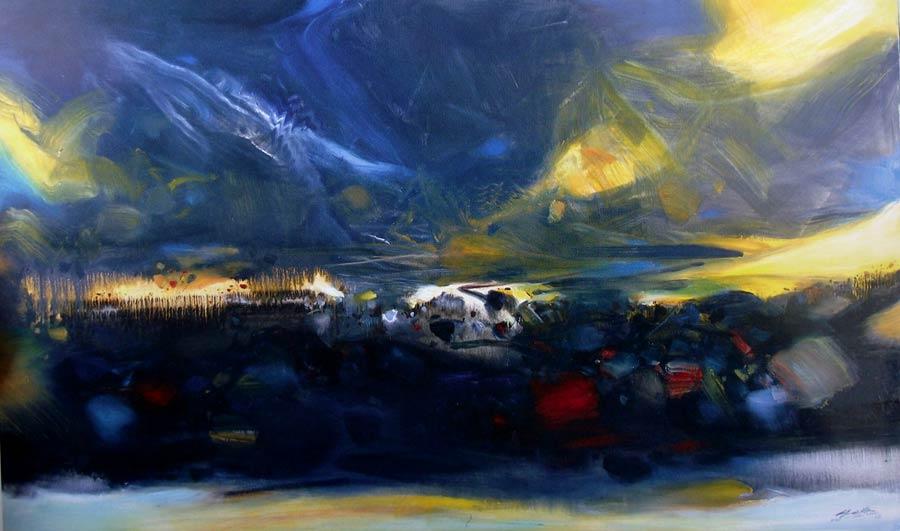 chu-teh-chun-oleou-delà du couchant (Más allá de la puesta del sol), 2005. 195 x 130 cm. Óleo obre lienzo.
